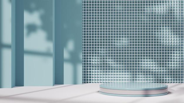 창 배경에서 제품과 그림자를 표시하기 위한 흰색 줄무늬가 있는 파란색 연단의 3d 렌더링. 쇼 제품에 대한 모형.