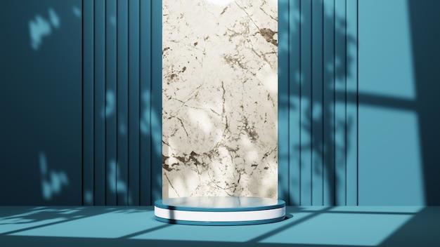 파란색 방 배경에 제품을 표시하기 위한 흰색 줄무늬가 있는 파란색 연단의 3d 렌더링. 쇼 제품에 대한 모형.