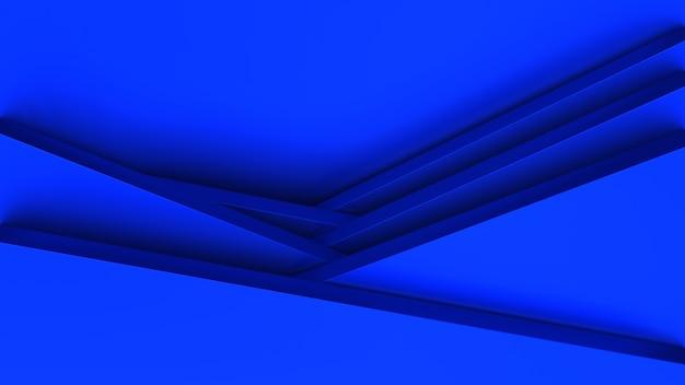 Papercut 스타일로 파란색 도형의 3d 렌더링