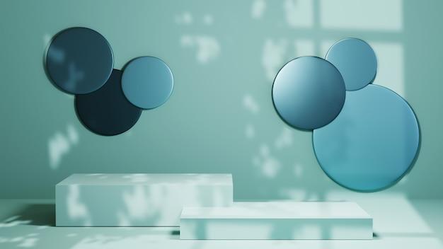 파란색 사각형 연단 및 창 그림자 배경의 3d 렌더링. 쇼 제품에 대한 모형.