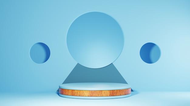 푸른 나무 스트립 연단 배경의 3d 렌더링입니다. 쇼 제품에 대한 모형.