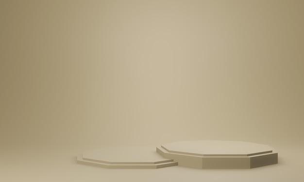 갈색 기하학적 스탠드의 3d 렌더링