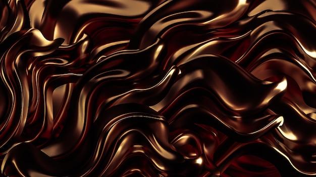 茶色のプリーツと渦巻きの3 dレンダリング