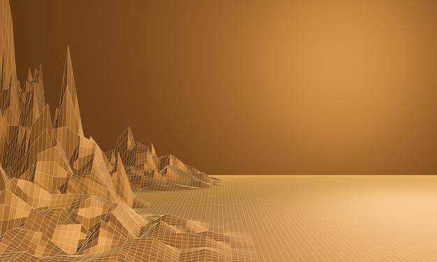 茶色の地形ワイヤーフレームの3dレンダリング