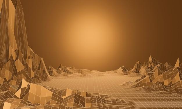 갈색 지형 와이어 프레임의 3d 렌더링