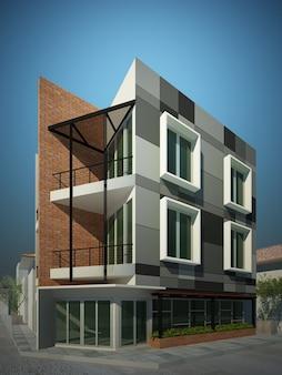 건물 디자인의 3d 렌더링