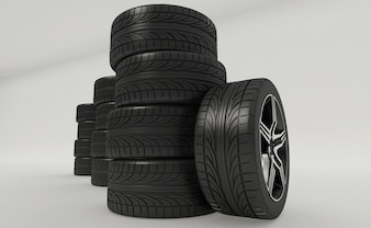 3d rendering of car tires with rims isolated on white background