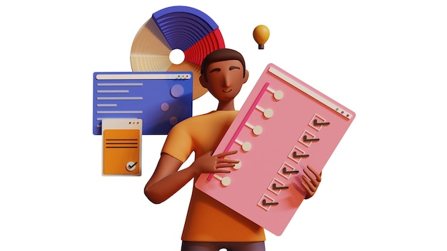 3d-рендеринг мультфильм бизнесмена или сотрудника, холдинг контрольный список и анализ данных или инфографики на белом фоне.