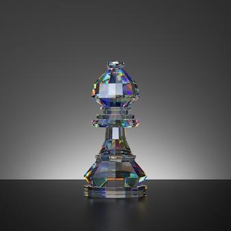 チェスゲームの孤立したクリスタルビショップの駒の3dレンダリング