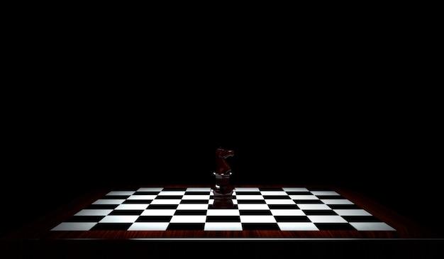 チェスの駒のチェス盤上の騎士の3dレンダリング。黒の背景に分離