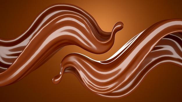 3d-рендеринг шоколада течет всплеск