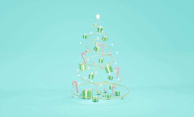 抽象的なクリスマスツリーのクリスマスツリーの概念の形でクリスマス要素の3dレンダリング