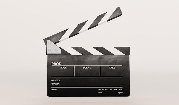 흰색 배경에 clapperboard의 3d 렌더링입니다.