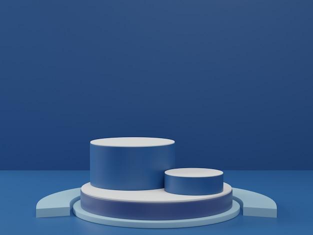 明確な背景にクラシックブルーの台座の3 dレンダリング、美容化粧品の抽象的な最小限の表彰台の空白スペース