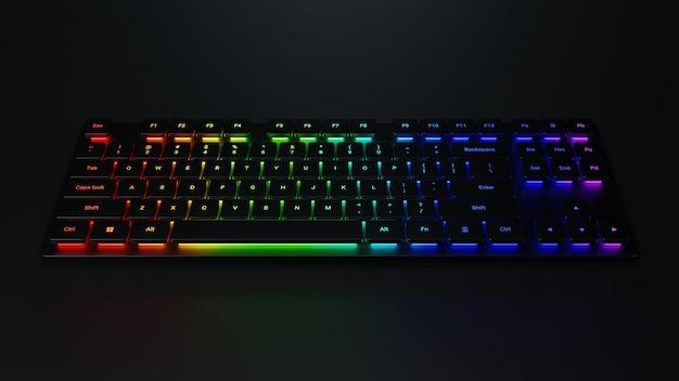3d-рендеринг игровой компьютерной клавиатуры с красочной подсветкой