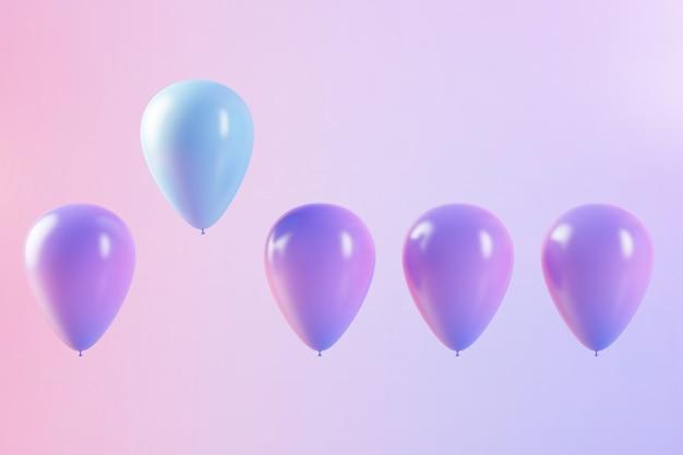 カラフルな風船の3dレンダリング、1つの異なる