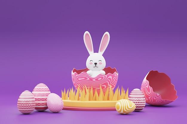 보라색 background.happy 부활절 개념에 토끼와 다채로운 부활절 달걀의 3d 렌더링.
