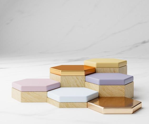 추상적 인 개념에 다채로운 기하학적 연단과 대리석 벽지의 3d 렌더링.