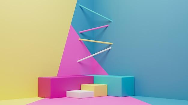 다채로운 기하학적 연단과 현대 벽지의 3d 렌더링