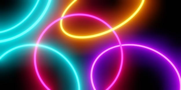 화려한 네온 빛 추상의 3d 렌더링