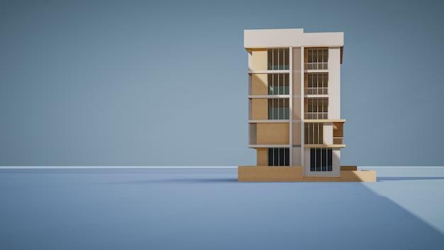 파란색 배경의 상업용 건물의 3d 렌더링