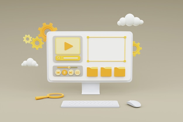 회색 배경에 미디어 콘텐츠 관리 개념을 보여주는 컴퓨터의 3d 렌더링.