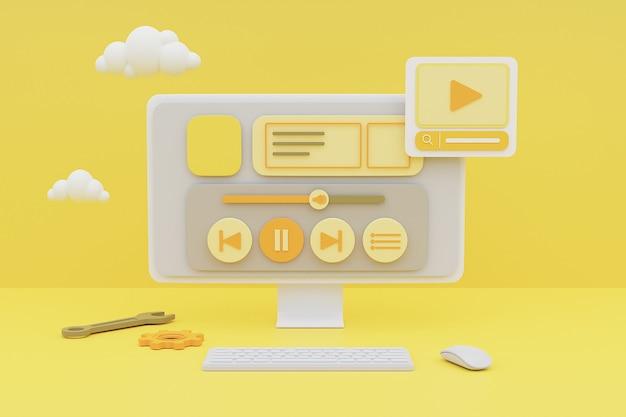 노란색 배경에 미디어 콘텐츠 관리 개념을 보여주는 컴퓨터의 3d 렌더링.
