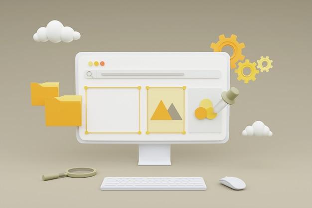 웹 사이트 온라인 마케팅 개발 개념에 대한 미디어 콘텐츠 관리를 보여주는 컴퓨터의 3d 렌더링.