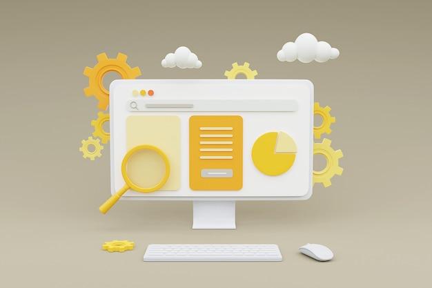 노란색 바탕에 온라인 마케팅 웹 사이트 개념을 보여주는 컴퓨터의 3d 렌더링.