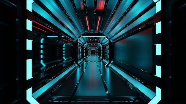 青いネオンライトを使用した廊下の3dレンダリング
