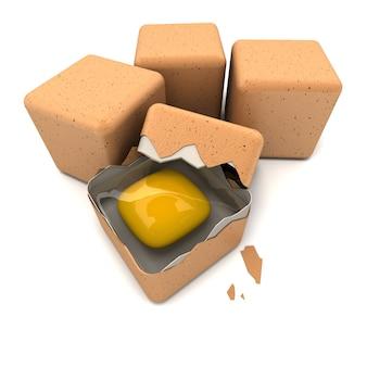 3d-рендеринг яиц кубической формы и разбитого яйца