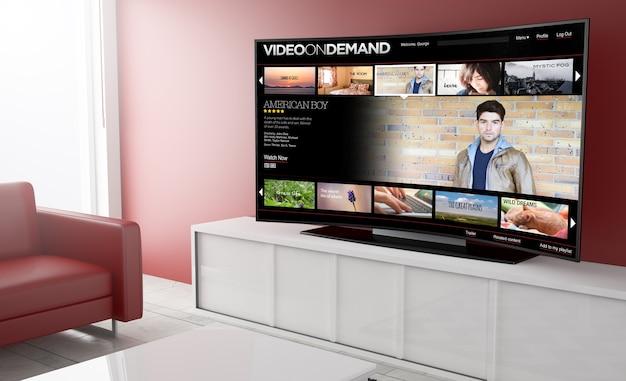 주문형 비디오 플랫폼이있는 거실에 곡선 형 스마트 tv의 3d 렌더링