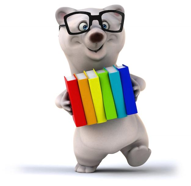 3d-рендеринг милый медведь с книгами
