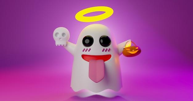 3d-рендеринг милого призрачного мультфильма, держащего череп и тыквенный фонарь.