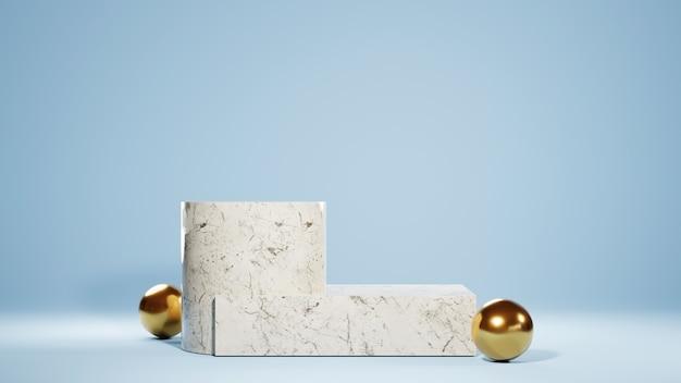 원통형 연단과 대리석 사각형 및 황금색 공 배경의 3d 렌더링. 쇼 제품에 대한 모형.