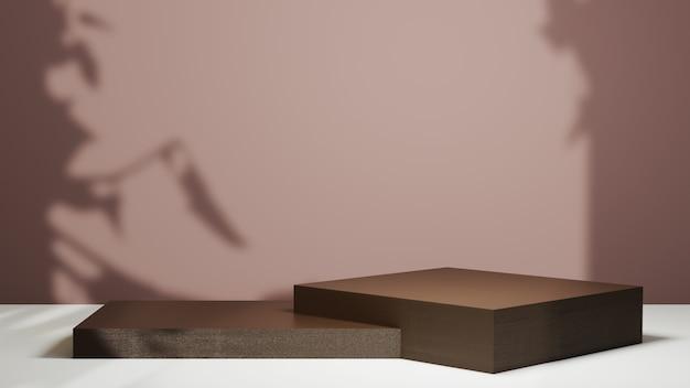 제품 배경을 표시하기 위한 짙은 갈색 연단의 3d 렌더링. 쇼 제품에 대한 모형.