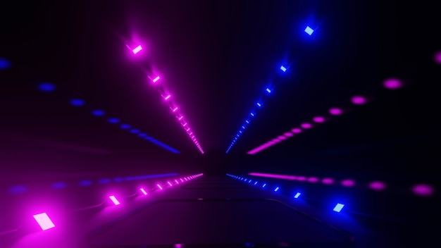 핑크와 블루 빛으로 어두운 인테리어의 3d 렌더링