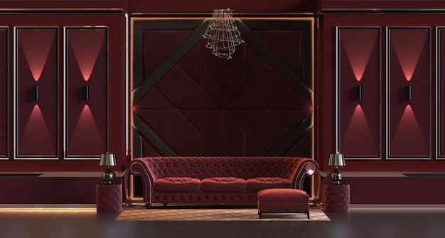 3d визуализация дизайнерского интерьера гостиной с лампой и мягкой стеновой панелью
