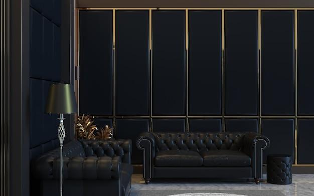 3d визуализация дизайна интерьера гостиной с диваном и отделкой панелями на мягкой стене