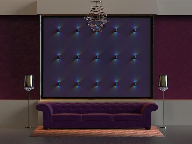 3d рендеринг дизайна интерьера гостиной с настенным светильником