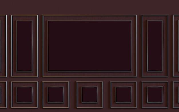 3d-рендеринг дизайнерской настенной комнаты с отделкой стеновой панелью с мягкой подкладкой