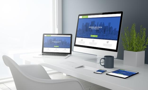 현대적인 디자인 웹 사이트를 보여주는 모든 장치가있는 데스크톱의 3d 렌더링.