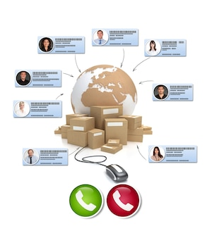 国際的な流通状況で電話会議を行うさまざまなビジネス連絡先の3dレンダリング