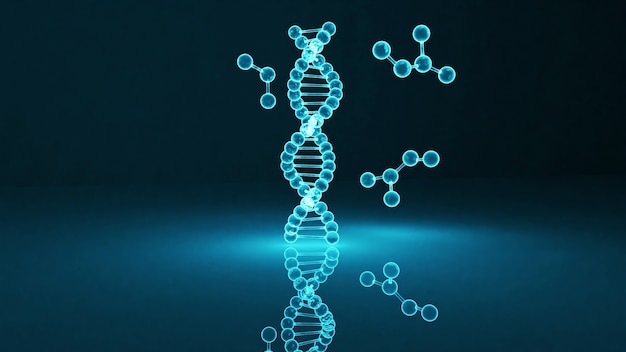 푸른 빛으로 dna 분자의 3d 렌더링