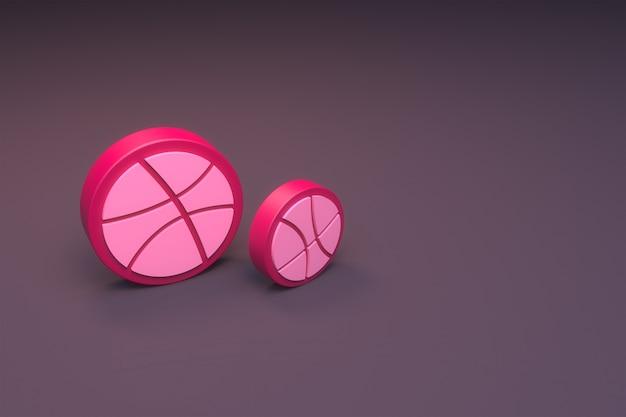 3d-рендеринг логотипа dribble