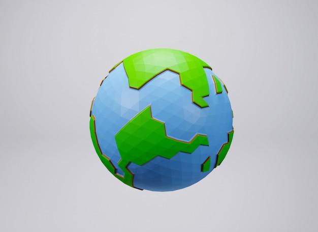 白い背景の上の地球低ポリの3 dレンダリング