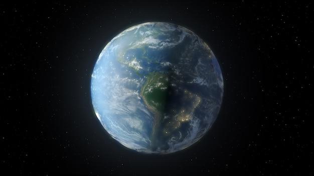 공간에서 지구의 3d 렌더링