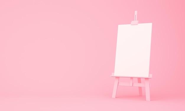 3d-рендеринг мольберта на розовом фоне