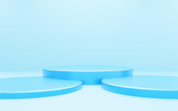空の青い表彰台の抽象的な最小限の背景の3dレンダリング。広告デザイン、化粧品広告、ショー、テクノロジー、食品、バナー、クリーム、ファッション、子供、贅沢のためのシーン。図。製品展示