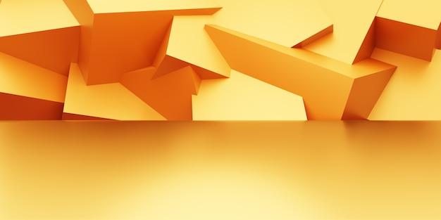 空の金の3dレンダリングは、幾何学的な形で最小限の背景を抽象化します。広告のシーン